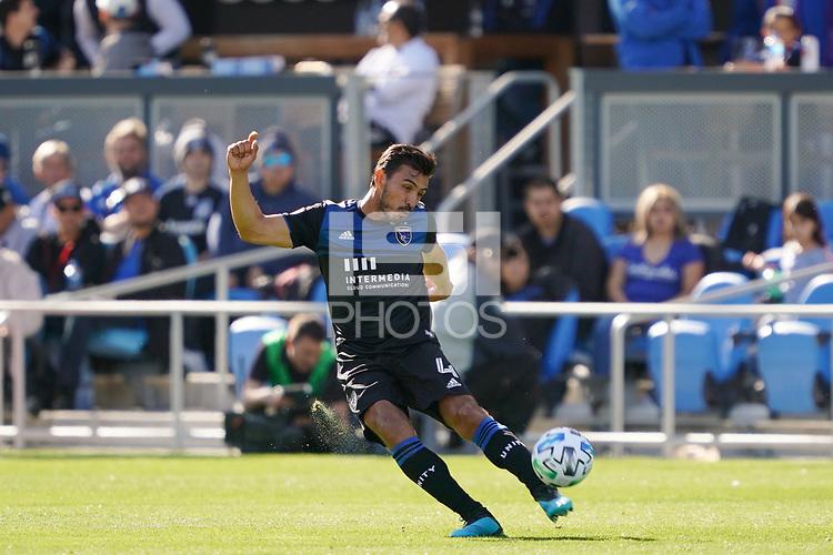 SAN JOSE, CA - FEBRUARY 29: Oswaldo Alanis #4 of the San Jose Earthquakes during a game between Toronto FC and San Jose Earthquakes at Earthquakes Stadium on February 29, 2020 in San Jose, California.