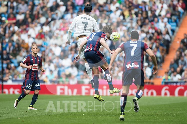 Real Madrid's Cristiano Ronaldo and Sociedad Deportiva Eibar's Saul Berjon, Aleksandar Pantic and Ander Capa during La Liga match. April 09, 2016. (ALTERPHOTOS/Borja B.Hojas)