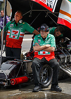 Jul 23, 2017; Morrison, CO, USA; Jim Dunn , car owner for the car of NHRA funny car driver Jim Campbell during the Mile High Nationals at Bandimere Speedway. Mandatory Credit: Mark J. Rebilas-USA TODAY Sports