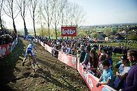 Laura Verdonschot (BEL/AAdrinks-BRIS) coming down the Koppenberg<br /> <br /> Koppenbergcross 2014