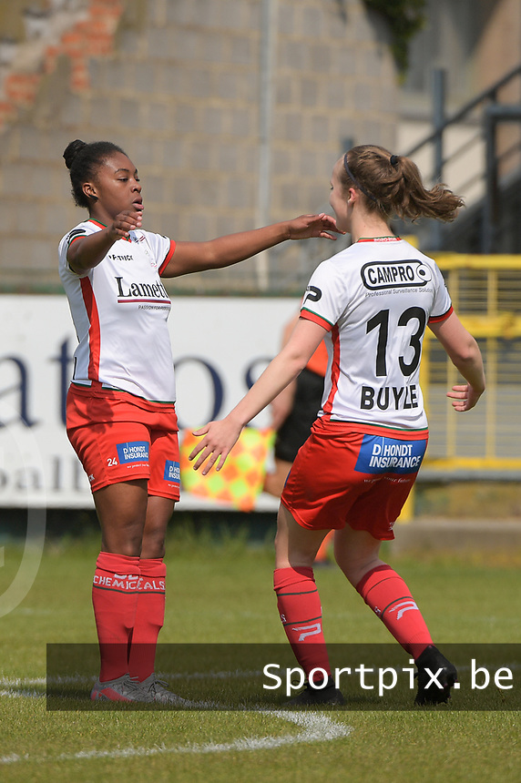 Esther Buabadi (24) of Zulte Waregem pictured celebrating her opening goal during a female soccer game between Eendracht Aalst and SV Zulte Waregem on the fourth matchday of play off 2 of the 2020 - 2021 season of Belgian Scooore Womens Super League , Saturday 1 st of May 2021  in Aalst , Belgium . PHOTO SPORTPIX.BE | SPP | DIRK VUYLSTEKE