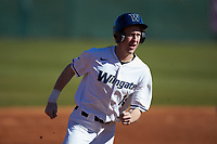 Mitch Farris (15) of the Wingate Bulldogs hustles towards third base against the Concord Mountain Lions at Ron Christopher Stadium on February 2, 2020 in Wingate, North Carolina. The Mountain Lions defeated the Bulldogs 12-11. (Brian Westerholt/Four Seam Images)