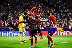 Antoine Griezmann of Atletico de Madrid celebrates with teammates Jorge Resurreccion Merodio, Koke, Filipe Luis and Yannick Ferreira Carrasco during the UEFA Champions League 2017-18 match between Atletico de Madrid and Chelsea FC at the Wanda Metropolitano on 27 September 2017, in Madrid, Spain. Photo by Diego Gonzalez / Power Sport Images