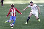 Atletico de Madrid's Antoine Griezmann (l) and Sevilla FC's Adil Rami during La Liga match. March 19,2017. (ALTERPHOTOS/Acero)