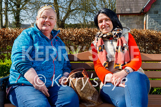 Enjoying a chat and a stroll in the Listowel town park on Good Friday, l to r: Tina Canty and Martina Swift.