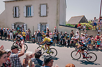 yellow jersey / GC leader Greg Van Avermaet (BEL/BMC) and teammates rolling through town, cathing up with the peloton just ahead<br /> <br /> Stage 6: Brest > Mûr de Bretagne / Guerlédan (181km)<br /> <br /> 105th Tour de France 2018<br /> ©kramon
