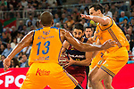 Herbalife Gran Canaria's players Eulis Baez and Darko Planinic and FC Barcelona Lassa player Juan Carlos Navarro during the final of Supercopa of Liga Endesa Madrid. September 24, Spain. 2016. (ALTERPHOTOS/BorjaB.Hojas)