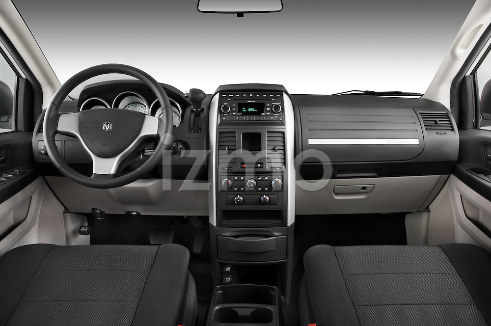 Straight dashboard view of a 2008 Dodge Caravan