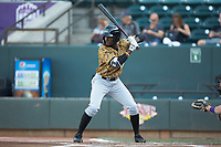 Eric Jenkins (12) of the Down East Wood Ducks at bat against the Winston-Salem Dash at BB&T Ballpark on May 12, 2018 in Winston-Salem, North Carolina. The Wood Ducks defeated the Dash 7-5. (Brian Westerholt/Four Seam Images)