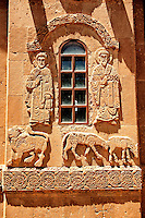 Bas Releif sculptures with scenes from the Bible on the outside of the 10th century Armenian Orthodox Cathedral of the Holy Cross on Akdamar Island, Lake Van Turkey 27