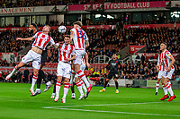 1st October 2021;  Bet365 Stadium, Stoke, Staffordshire, England; EFL Championship football, Stoke City versus West Bromwich Albion; Josh Tymon of Stoke City heads the ball clear