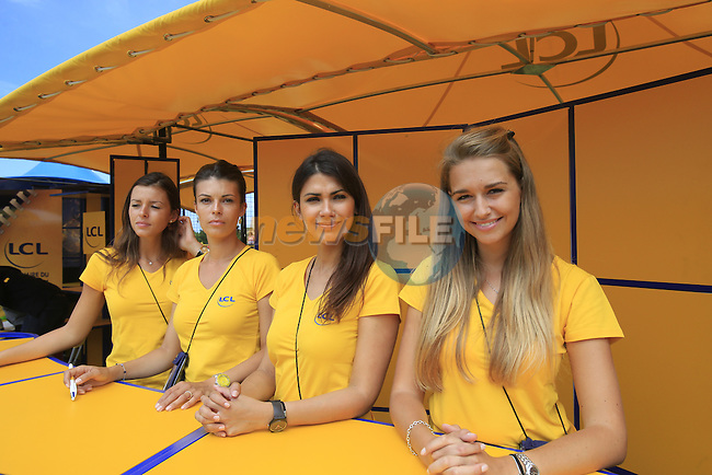 LCL girls in the Tour Village in Le Touquet for the start of Stage 4 of the 2014 Tour de France running 163.5km from Le Touquet to Lille. 8th July 2014.<br /> Picture: Eoin Clarke www.newsfile.ie