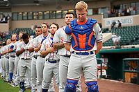 St. Lucie Mets catcher Dan Lizzie (7) stands for the national anthem bofore the second game of a doubleheader against the Lakeland Flying Tigers on June 10, 2017 at Joker Marchant Stadium in Lakeland, Florida.  Lakeland defeated St. Lucie 9-1.  (Mike Janes/Four Seam Images)