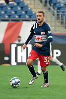 FOXBOROUGH, MA - APRIL 17: Jake Rozhansky #32 of New England Revolution II during a game between Richmond Kickers and Revolution II at Gillette Stadium on April 17, 2021 in Foxborough, Massachusetts.