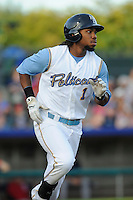 Left fielder Chris Grayson (1) of the Myrtle Beach Pelicans in a game against the Potomac Nationals on Friday, August 9, 2013, at TicketReturn.com Field in Myrtle Beach, South Carolina. Myrtle Beach won, 3-2. (Tom Priddy/Four Seam Images)