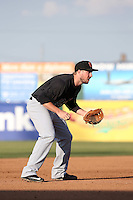 Cody Regis (18) of the Visalia Rawhide at third base during a game against the Lancaster JetHawks at The Hanger on May 7, 2016 in Lancaster, California. Lancaster defeated Visalia, 19-5. (Larry Goren/Four Seam Images)