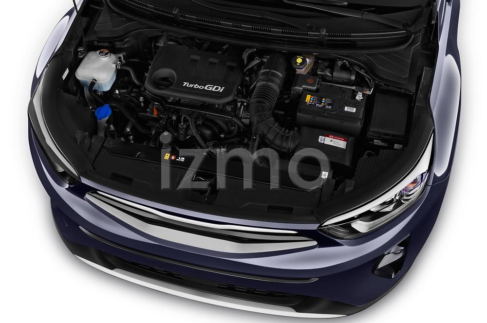 Car stock 2018 KIA Stonic Sense 5 Door SUV engine high angle detail view
