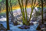 Rainbow at base of Bridalveil falls, Yosemite National Park, California