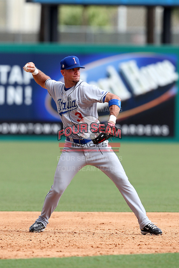 Italy National Team second baseman Anthony Granato #3 during an Instructional League game against the Florida Marlins at Roger Dean Stadium on September 27, 2011 in Jupiter, Florida.  (Mike Janes/Four Seam Images)