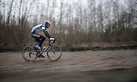 Paris-Roubaix 2013 RECON..Stijn Vandenbergh (BEL) flying over the Arenberg cobbles..