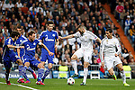 Real Madrid´s Benzema and Cristiano Ronaldo and Schakle 04 Howedes and Fuchs during Champions League soccer match at Santiago Bernabeu stadium in Madrid, Spain. March, 10, 2015. (ALTERPHOTOS/Caro Marin)