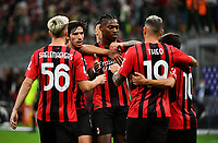 Calcio, Serie A: AC Milan - Cagliari, Giuseppe Meazza (San Siro) stadium, Milan on August 29, 2021.  <br /> Milan's Rafael Leao (c) celebrates after scoring with his teammates during the Italian Serie A football match between Milan and Cagliari at Giuseppe Meazza stadium, on August 29, 2021.  <br /> UPDATE IMAGES PRESS/Isabella Bonotto