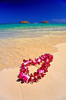 A beautiful orchid lei gently settles on the warm sands of Lanikai beach, Oahu. Mokulua islands in background.
