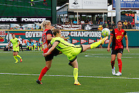 Rochester, NY - Saturday July 09, 2016: Abigail Dahlkemper, Manon Melis during a regular season National Women's Soccer League (NWSL) match between the Western New York Flash and the Seattle Reign FC at Frontier Field.