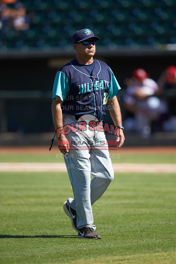 Lynchburg Hillcats manager Jim Pankovits (20) walks off the field after a mound visit during the game against the Winston-Salem Rayados at BB&T Ballpark on June 23, 2019 in Winston-Salem, North Carolina. The Hillcats defeated the Rayados 12-9 in 11 innings. (Brian Westerholt/Four Seam Images)