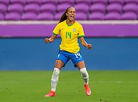 ORLANDO, FL - FEBRUARY 18: Adriana #14 of Brazil celebrates during a game between Argentina and Brazil at Exploria Stadium on February 18, 2021 in Orlando, Florida.