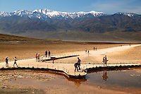 Water from heavy rains fill the Badwater Basin into a lake in 2005.  Death Valley National Park, California