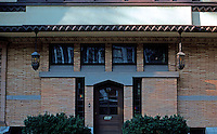 F.L. Wright: Moore House, Oak Park. Rear entrance.  Photo '76.