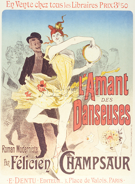 Reproduction of a poster advertising 'The Lover of Dancers', a modernist novel by Felicien Champsaur, 1888 (colour litho)