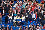 """Security Guards get abuse from Welsh fans as they remove a banner with the words """"No Team GB"""" before kick off of the .Wales v Norway Vauxhall international friendly match at the Cardiff City Stadium in South Wales..Editorial use only."""