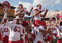 Utah celebrates the win.The Utah Utes defeated the Pitt Panthers 26-14 at Heinz Field, Pittsburgh, Pennsylvania on October 15, 2011.