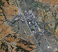 aerial photo map of San Ramon, Contra Costa county, California, 2009.  For a more recent aerial photo map of San Ramon, please contact Aerial Archives.