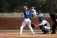 Mason Pickard (13) of the Queens Royals at bat during game two of a double-header against the Catawba Indians at Tuckaseegee Dream Fields on March 26, 2021 in Kannapolis, North Carolina. (Brian Westerholt/Four Seam Images)