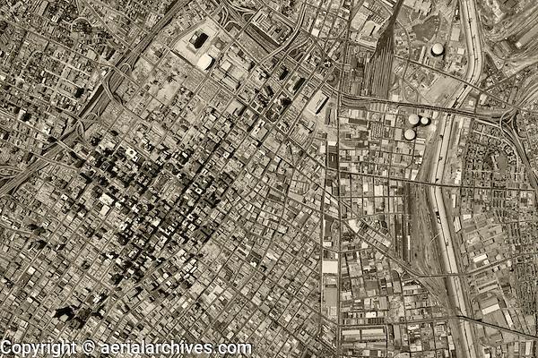 historical aerial photograph Los Angeles, California, 1964