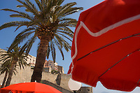 """Europe/France/Corse/2B/Haute-Corse/Calvi:Parasols et palmier à  la terrasse du Restaurant """"Emile's,"""" Quai Landry sur le port en fond la citadelle."""