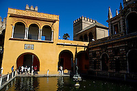 Pools in the Danzas Gardens in the Alcazar of Seville, Andalusia, Spain.