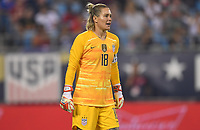 CHARLOTTE, NC - OCTOBER 03: Ashlyn Harris #18 of the United States yells directions to teammates during their game versus Korea Republic at Bank of American Stadium, on October 03, 2019 in Charlotte, NC.