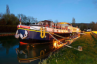 L'Impressionniste river barge cruise in Burgundy France with European Waterways. The barge on the Burgundy Canal.