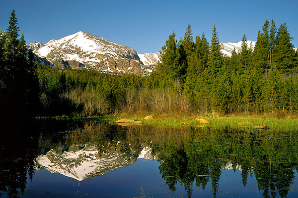 Thatchtop Mountain and pond in Rocky Mountain National Park, Colorado, USA .  John leads private photo tours throughout Colorado. Year-round Colorado photo tours.