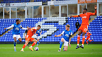 Blackpool's Jerry Yates turns before he scores the opening goal<br /> <br /> Photographer Chris Vaughan/CameraSport<br /> <br /> The EFL Sky Bet League One - Peterborough United v Blackpool - Saturday 21st November 2020 - London Road Stadium - Peterborough<br /> <br /> World Copyright © 2020 CameraSport. All rights reserved. 43 Linden Ave. Countesthorpe. Leicester. England. LE8 5PG - Tel: +44 (0) 116 277 4147 - admin@camerasport.com - www.camerasport.com