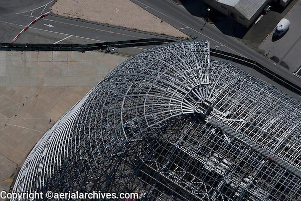 aerial photograph construction Hangar One, Moffett Field, Mountain View, California