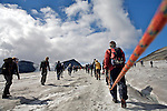 Crossing a glacier on the way to Galdhopiggen, Norway's highest mountain, 2469 meters above sea-level