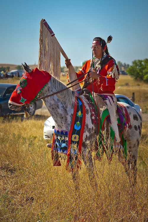 A rider and horse display their finery waiting to join the parade.