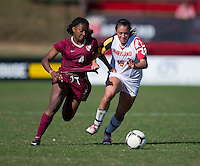 Erika Nelson (15) of Maryland fights for the ball with Jamia Fields (4) of Florida State during the game at Ludwing Field in College Park, MD.  Florida State defeated Maryland, 1-0.