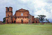 Missiones, Brazil. Derelict ruins of Sao Miguel Jesuit colonial church by Giovanni Battista Primoli. Rio Grande do Sul State.