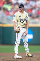 Vanderbilt Commodores pitcher Jake Eder (39) looks to his catcher for the sign during Game 12 of the NCAA College World Series against the Louisville Cardinals on June 21, 2019 at TD Ameritrade Park in Omaha, Nebraska. Vanderbilt defeated Louisville 3-2. (Andrew Woolley/Four Seam Images)